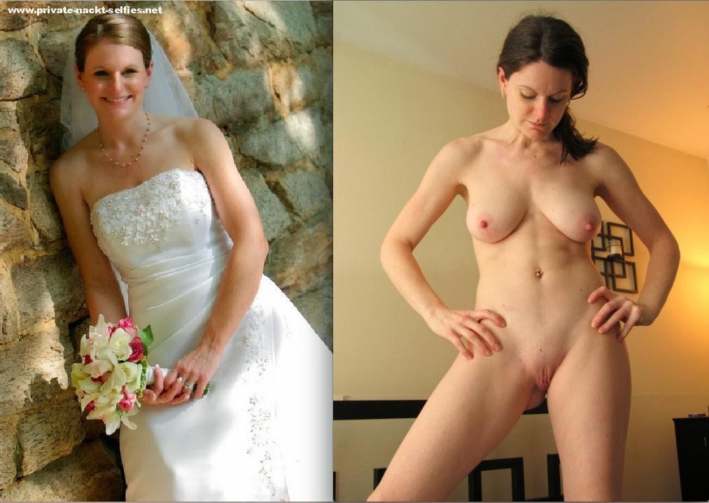 Nude amateur bride dressed and undressed